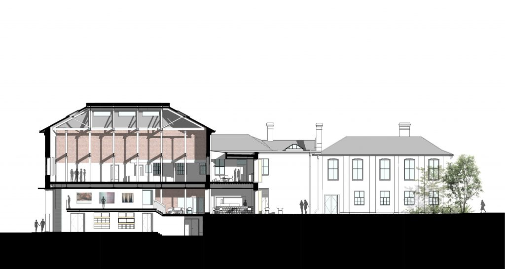 Section through existing building and extension