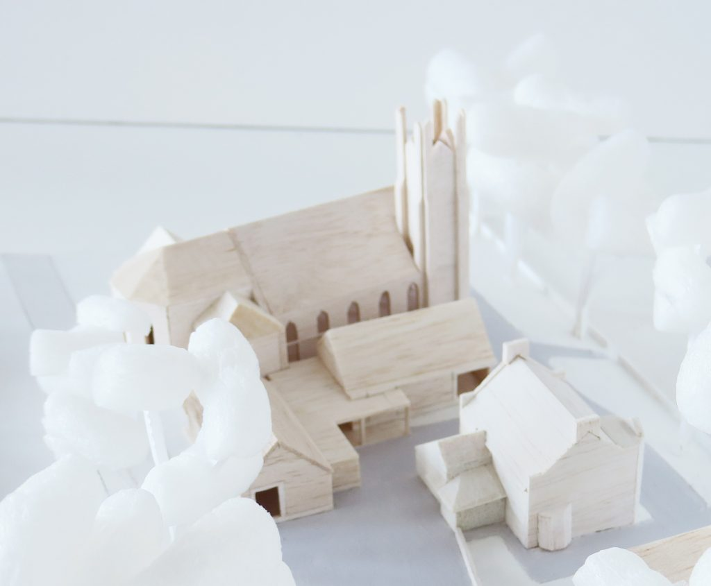 An early design model showing how the new extension sits amongst the existing buildings