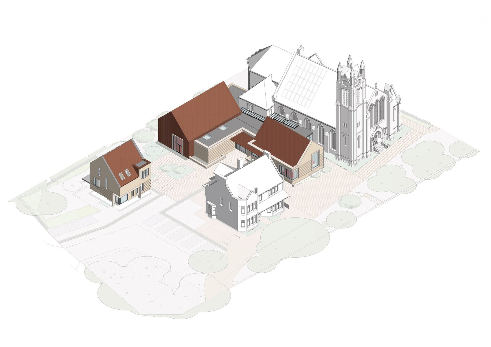 Axonometric view of the scheme showing the relationship of the building to the existing church and manse building, and the creation of courtyards in the new landscape setting.